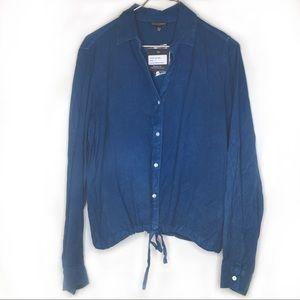 NWT STYLE ENVY Blue Cinched Hem Blouse Large